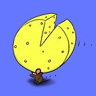 Cute mouse carrying big cheese by FrogFactory