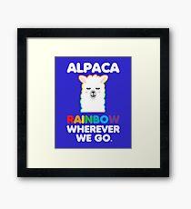 Wherever Rainbow Alpaca Design Framed Print