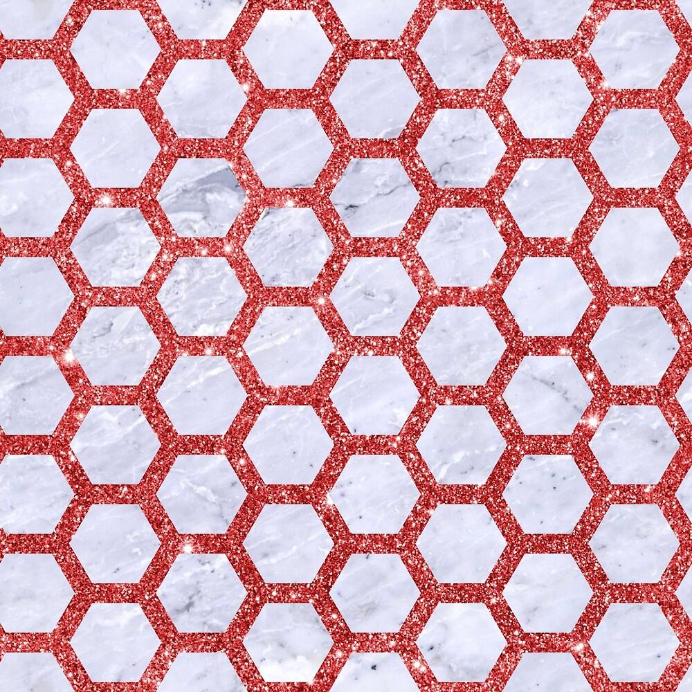 HEXAGON2 WHITE MARBLE & RED GLITTER (R) by johnhunternance