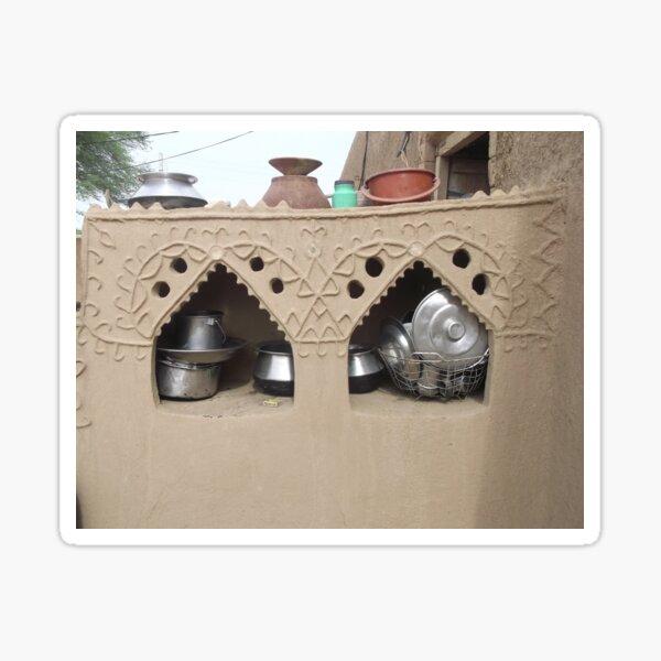 Village  home interior Cabinet of mud clay  Sticker