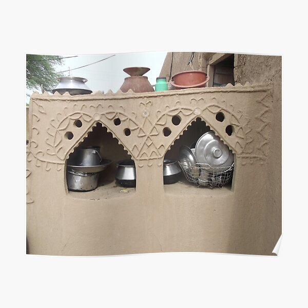 Village  home interior Cabinet of mud clay  Poster