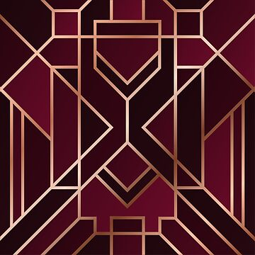 Gorgeous Wine Geometric Art Deco design by indicat