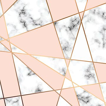 Beautiful blush pink and Navy Marble art deco pattern by indicat