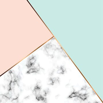 Gorgeous Blush pink, pale blue and gold marble art deco pattern by indicat
