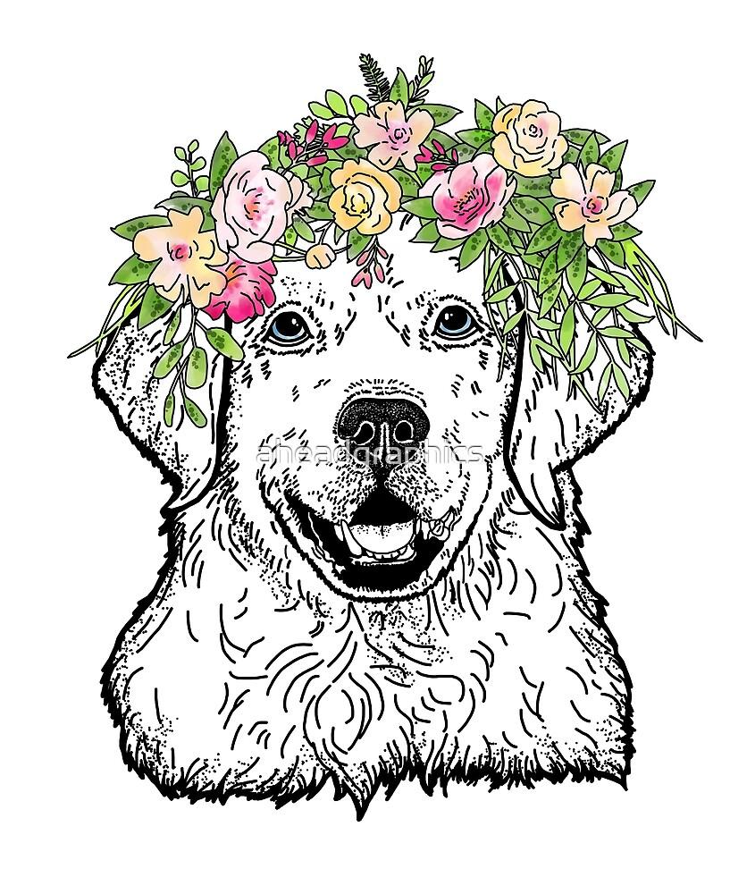 Golden Retriever-Florals by aheadgraphics