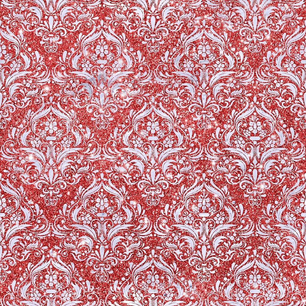 DAMASK1 WHITE MARBLE & RED GLITTER by johnhunternance