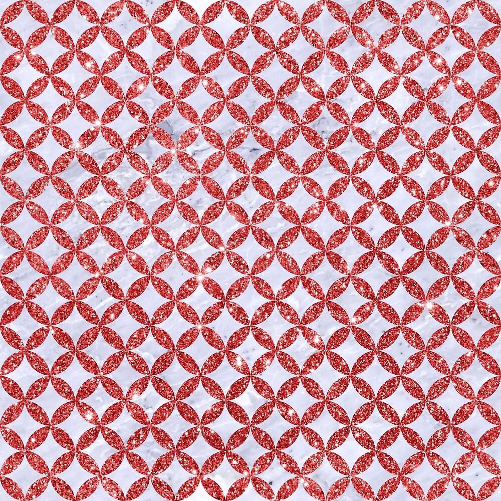 CIRCLES3 WHITE MARBLE & RED GLITTER (R) by johnhunternance