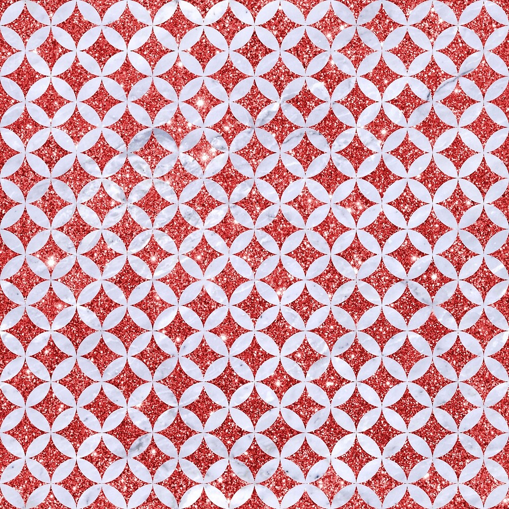 CIRCLES3 WHITE MARBLE & RED GLITTER by johnhunternance