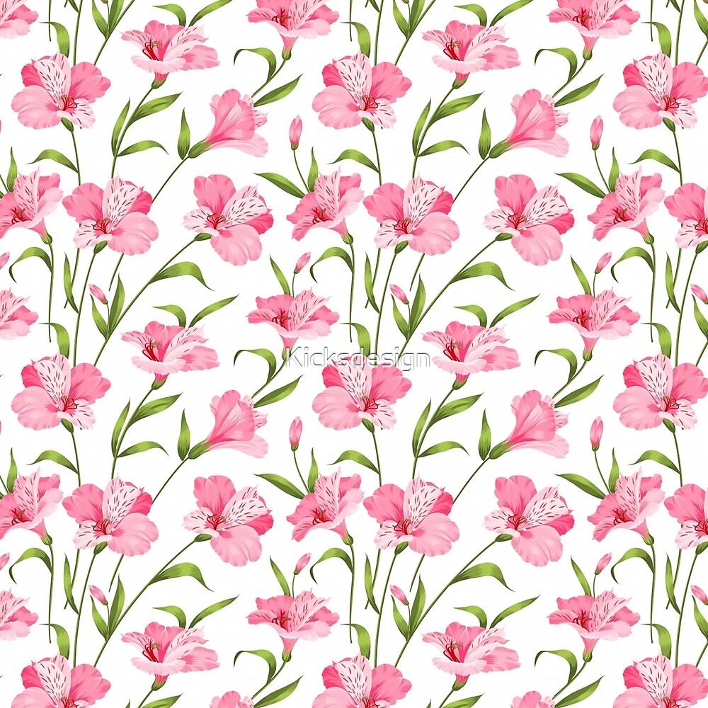 Girly blush pink green modern floral illustration by Maria Fernandes