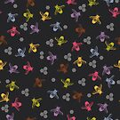 Multi coloured bees on black background. by jaggedfin