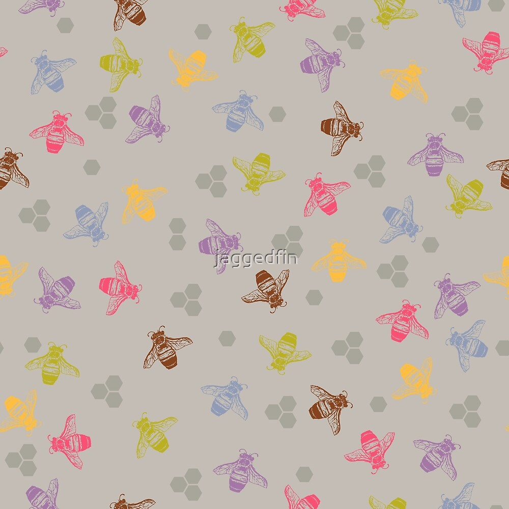 Multi coloured bees on grey / gray background. by jaggedfin
