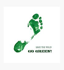 Green Painted Foot Imprint with Ecological Slogan Photographic Print