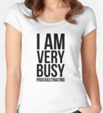I am very busy (procrastinating) - Black Women's Fitted Scoop T-Shirt