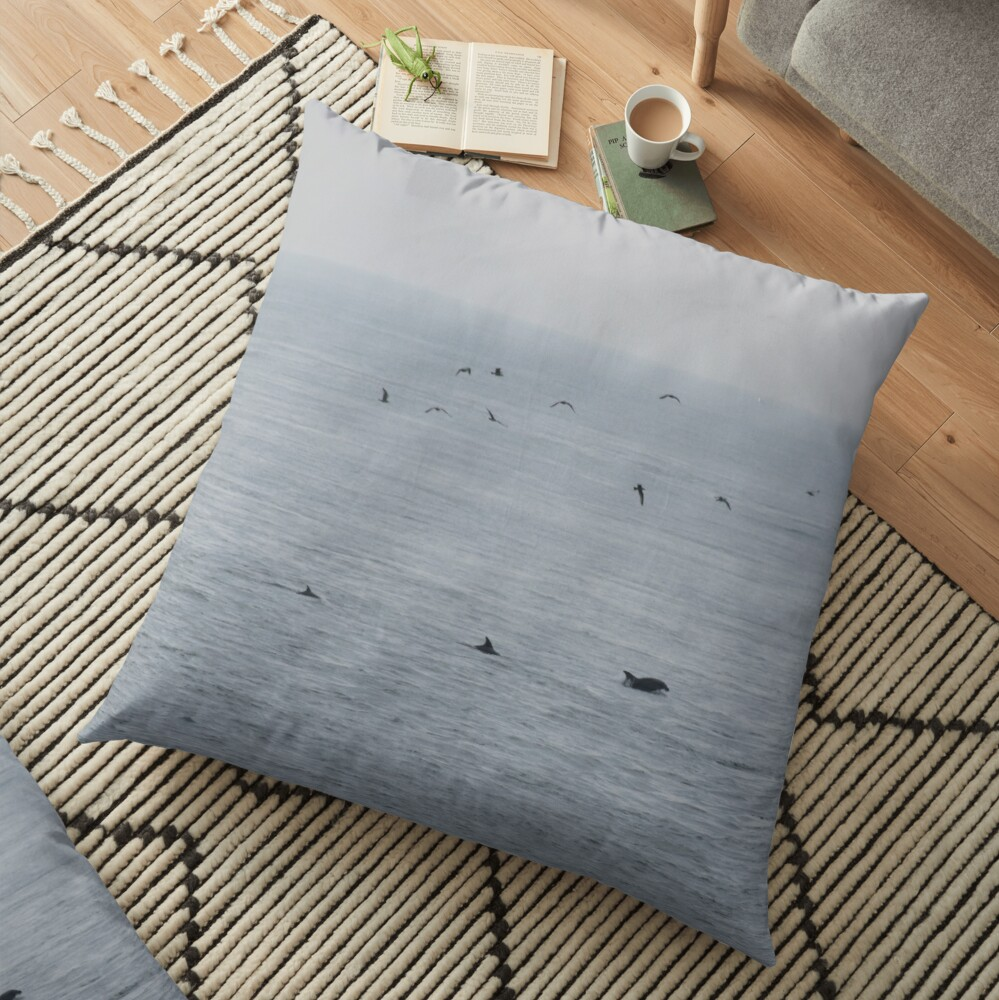 Dolphins near the British Isles Floor Pillow