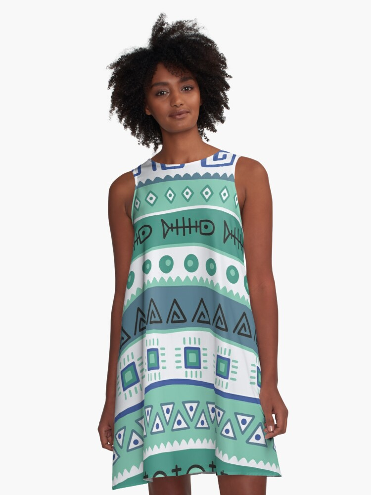African Tribal Pattern A-Line Dress Front