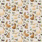 Bunnies Garden in Vintage Cotton by ThistleandFox
