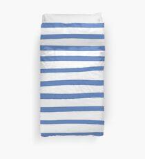 Blue hand drawn stripes  Duvet Cover