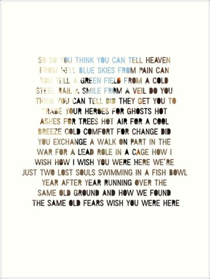 'Wish You Were Here - Lyrics' Art Print by JNDA88