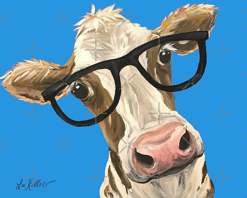 Cute Cow art, Cow with Glasses Art by leekellerart