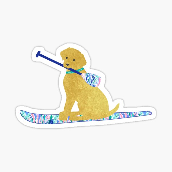 SUP Preppy Golden Retriever - Lilly Inspired Stand Up Paddle Board Sticker