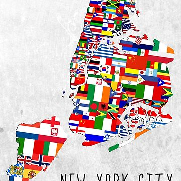 New York City Neighborhoods Map Flag Art  by icoNYC