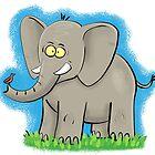 Cute, happy elephant cartoon by FrogFactory