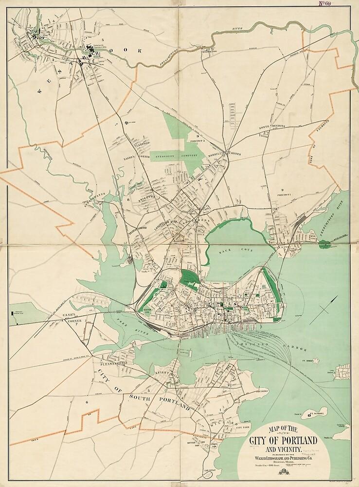 Vintage Map of Portland ME (1906) by BravuraMedia