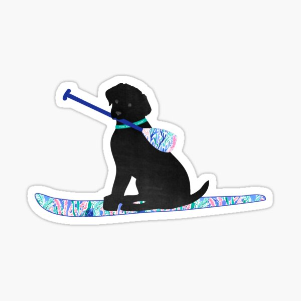 SUP Preppy Black Lab - Lilly Inspired Stand Up Paddle Board Sticker