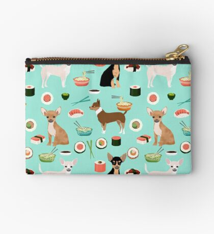 Chihuahua sushi dog breed pet pattern animal lovers Zipper Pouch