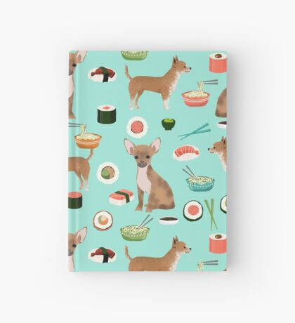 Chihuahua sushi dog breed pet pattern animal lovers Hardcover Journal