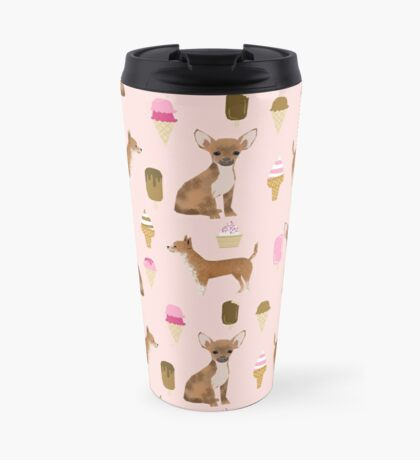 Chihuahua ice cream dog breed pet pattern animal lovers Travel Mug