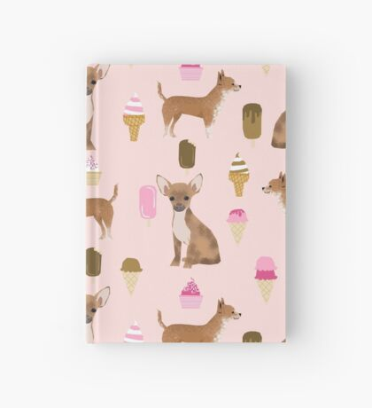 Chihuahua ice cream dog breed pet pattern animal lovers Hardcover Journal