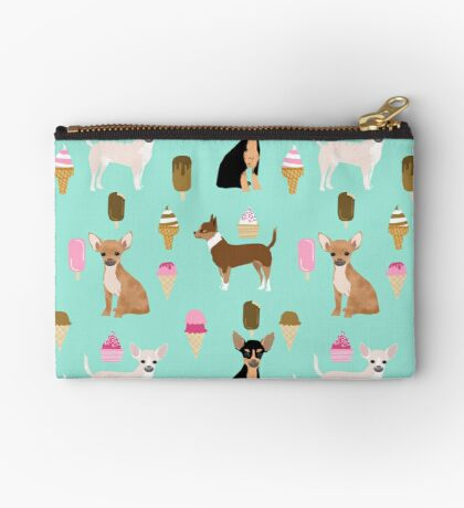 Chihuahua ice cream dog breed pet pattern animal lovers Zipper Pouch