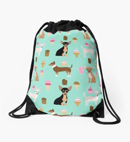 Chihuahua ice cream dog breed pet pattern animal lovers Drawstring Bag