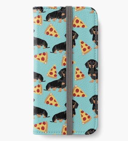 dachshund pizza dog breed pet pattern animal lovers iPhone Wallet