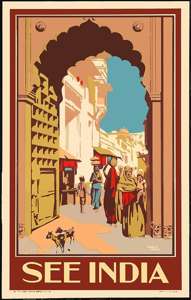 Vintage Travel Poster India 2 by simbamerch