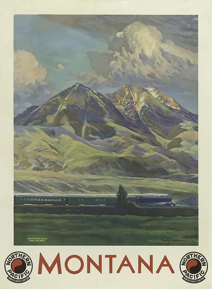 Vintage Travel Poster Montana 3 by simbamerch