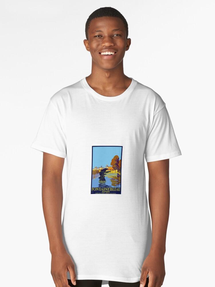 Vintage Travel Poster Fontainebleau Paris France Long T-Shirt Front