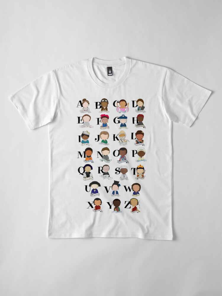 Alternate view of Awesome Woman Alphabet Premium T-Shirt