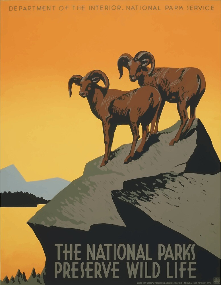 Vintage Travel Poster National Parks America USA by simbamerch