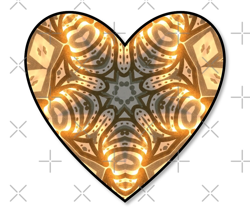 Metallic silver and gold heart. Hand painted.  by KrisMartin1834
