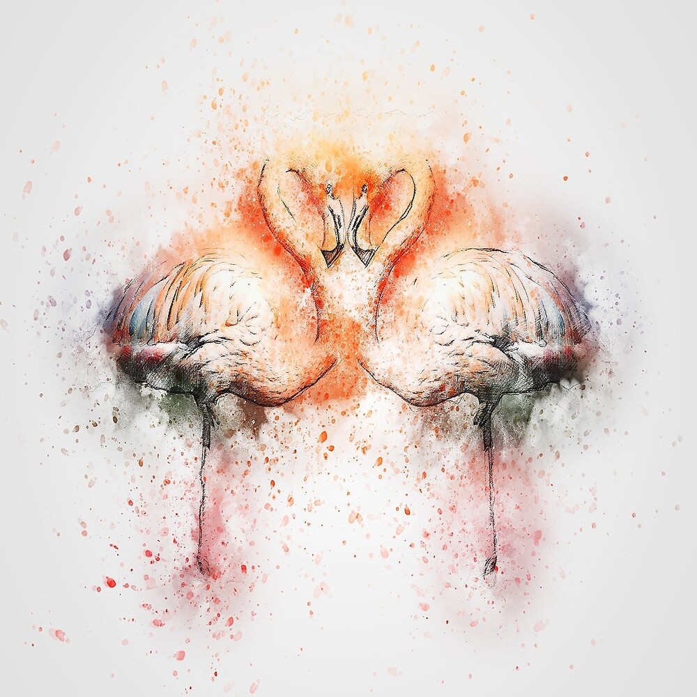 Flamingos in love on white by GryThunes