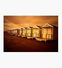 Sunset Beach Huts Photographic Print