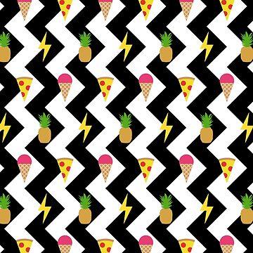 Ice Cream Pizza Pineapple Electric Emoji Zigzag Pattern by jezkemp