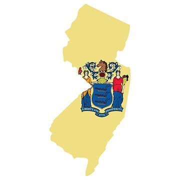 New Jersey State Outline with Flag by JPDesignsStuff