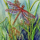 Dragonfly and Common Rushes (watercolour and mixed media on paper) by Lynne Henderson