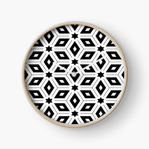 Monochrome Geometric Pattern Clock