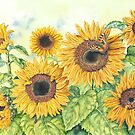 Sunflowers 2 (watercolour and mixed media on paper) by Lynne Henderson