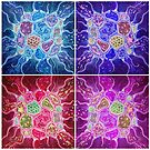 Microcosm Tiles (a digitally altered painting of my original Microcosm) by Lynne Henderson