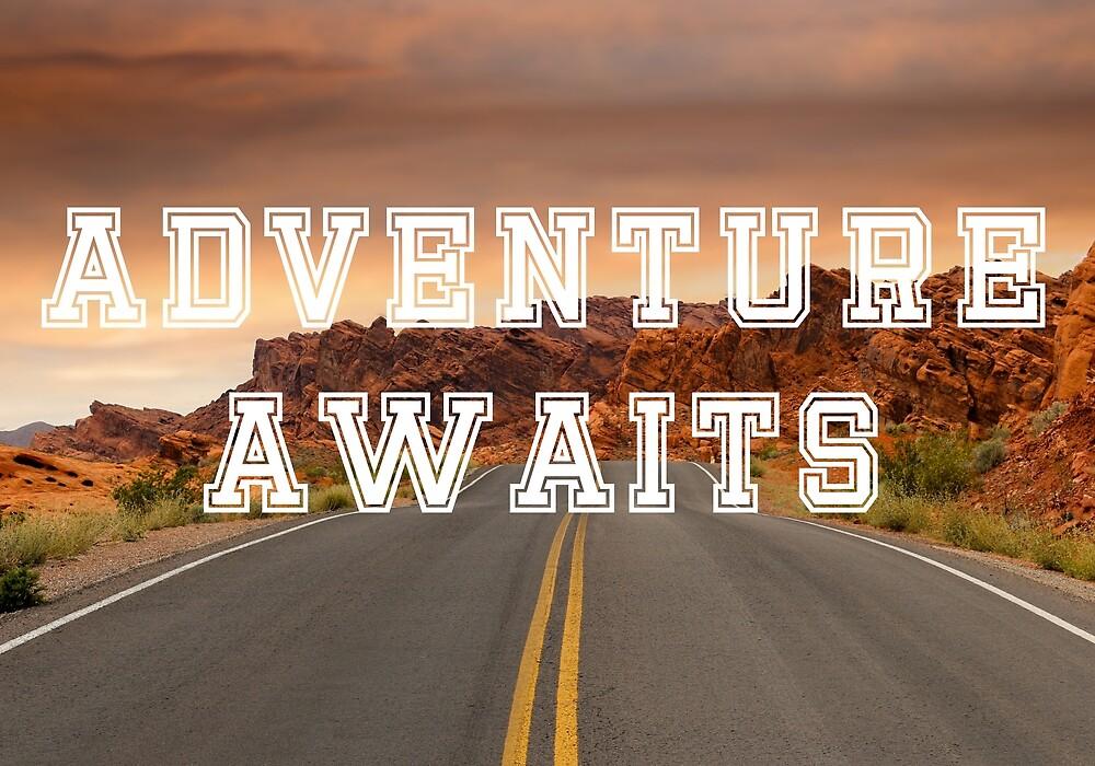 Adventure awaits transparent words against desert highway background by Ben Morley